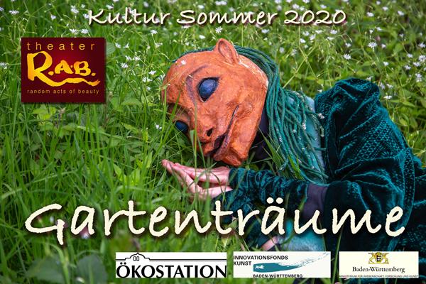 Gartenträume – eine Veranstaltungsreihe im Rahmen des Kultur Sommers 2020 – findet vom 24. Juli bis 2. August in der Ökostation Freiburg im Seepark statt. #TheaterRab | #MaskTheater | #Maskentheater | #mask | #gardendreams | #artthatmoves | #randomactsofbeauty